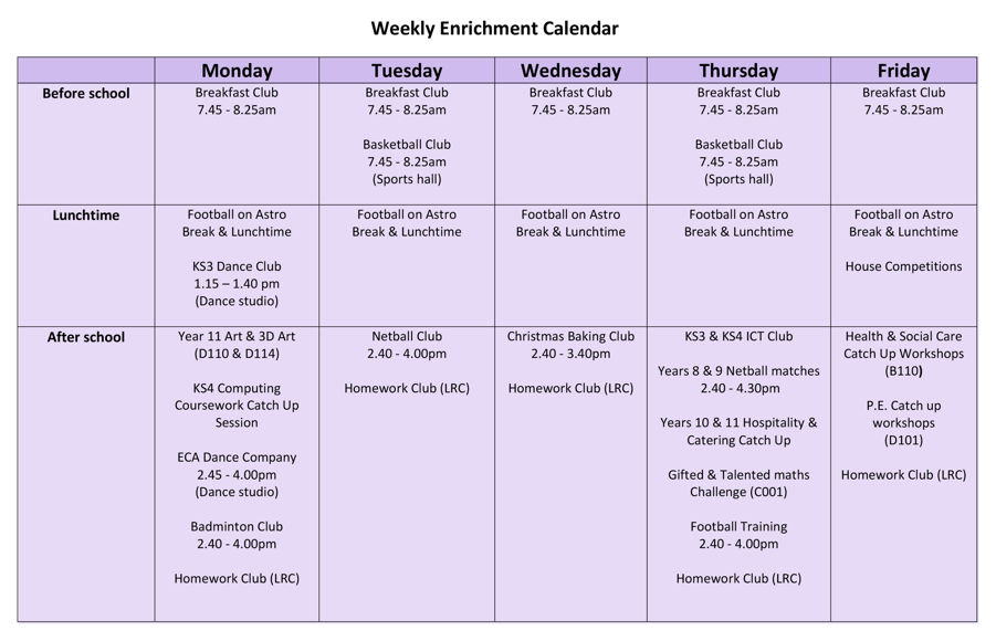 Enrichment calendar