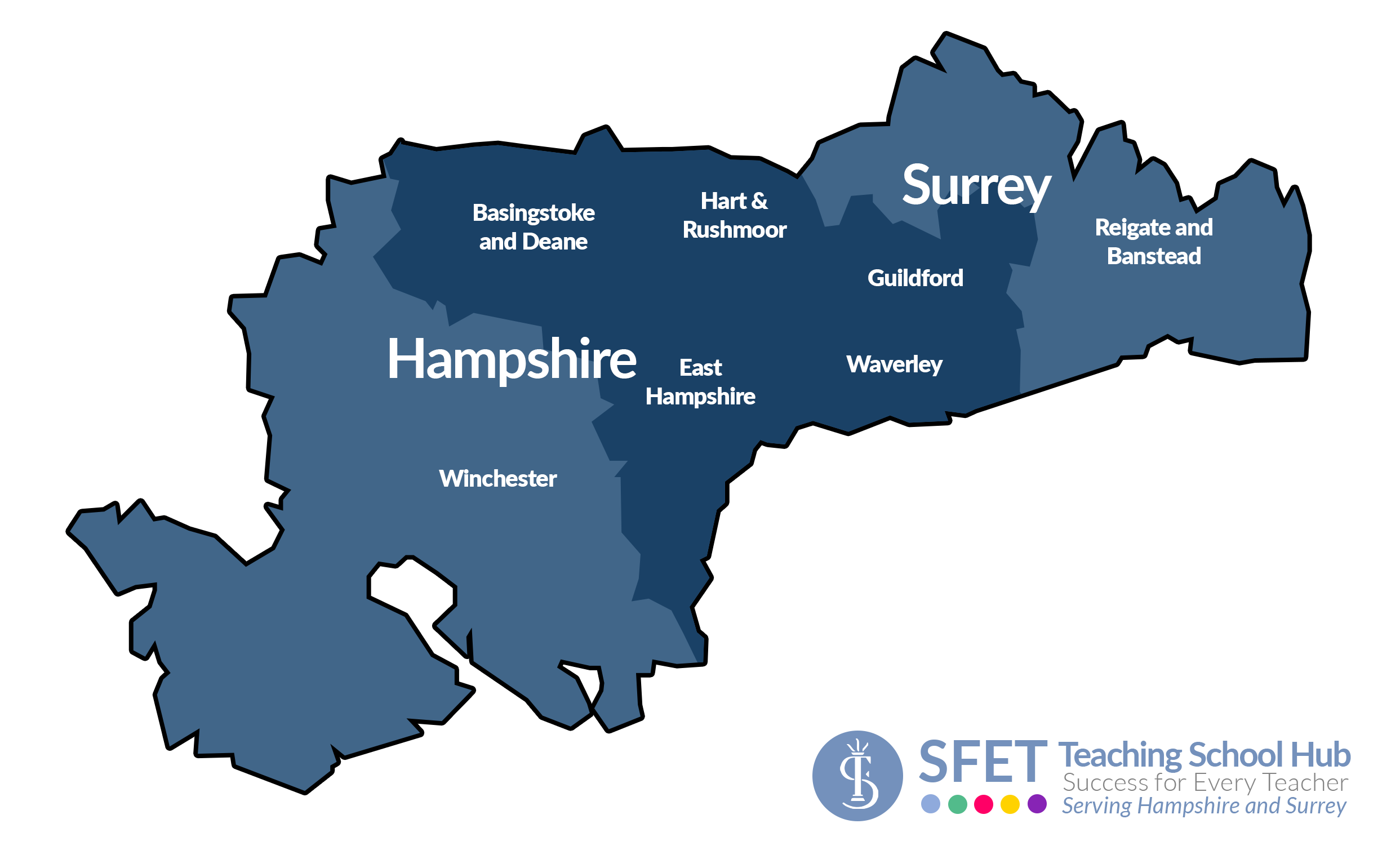 SFET Teaching School Hub   Coverage Map (bold districts)